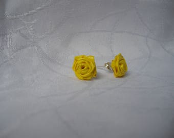 Earrings pink yellow paper