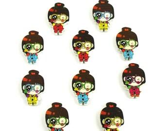 10 buttons decorative girls wooden cutout