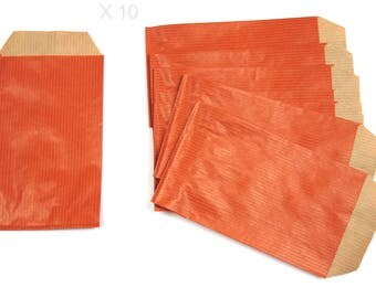 ORANGE dark 13 cm kraft paper gift pouches / 7 cm x 10 pieces