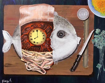 Cooking fish, time of death, giclee print, fine art print, surreal, creepy art, macabre art