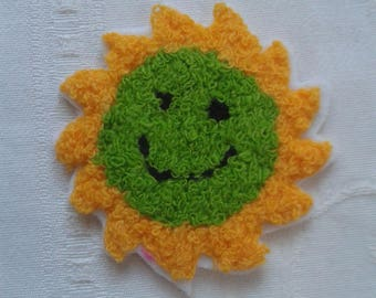 applique, patch, thermocollante Sun on white curly wool, stickers, for seamless garment embroidery patch