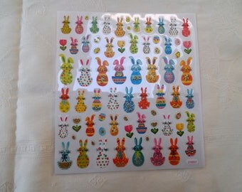 1 lot of 68 stickers strickers stickers with bunnies Easter eggs and flowers