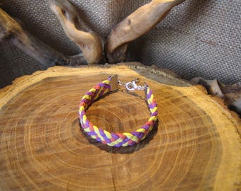 5 strands of orange, yellow and purple suede braided bracelet