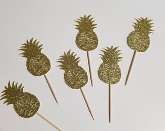 Gold Glitter Pineapple Cupcake Picks/ Toppers Set of 12