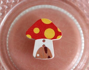 button wood mushroom red and yellow