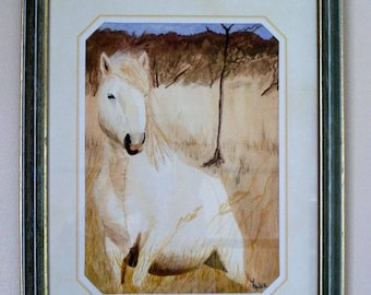 Watercolor - Camargue horse in the Moors