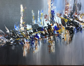 """Cityscape   - Abstract Acrylic Painting 30""""x 24"""""""