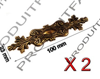 Trim Metal Antique Decoration for chest box box jewelry has 2 nail 100 * 23 mm