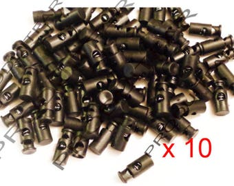 10 Tube stop cord laces ball black plastic stoppers