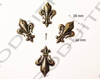 4 Fleur de lis Decoration embellishment Scrapbooking 46 X 28 mm brass metal