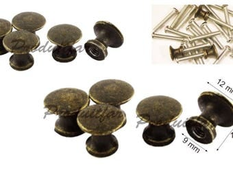Set of 4 handle filing drawer furniture business record 12 mm Bronze color button