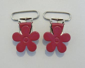 pink hot pink flower pacifier clip