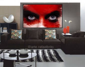 "Amazing painting woman hear... size: 30 ""x 60"""
