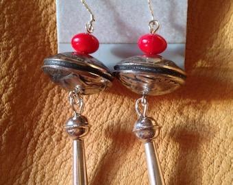 Native American Sterling Silver Squash Blossom Earrings