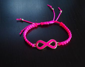 Friendship Bracelet pink with pink infinity charm