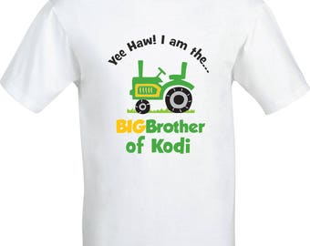 Personalised yee haw i am the big brother tractor  full color sublimation t shirt