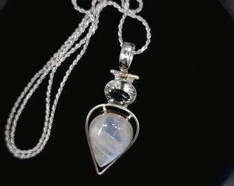 Rainbow Moonstone Sterling Silver Pendant and chain