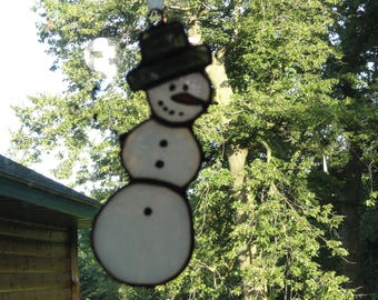 Stained Glass Snowman Suncatcher