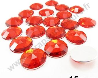 Paste rhinestone round - red - 15mm - 20pcs x