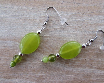 """Olivine"" green natural stones earrings"