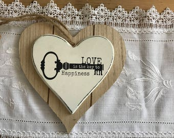 """7 wooden heart """"Love is the key to happiness"""""""