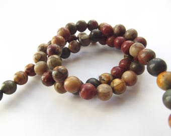 60 round smooth Jasper beads natural multicolor Picasso 6 mm REIA-805