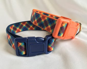 "Preppy Plaid 3/4"" or 1"" dog collar"