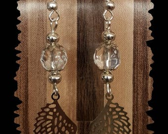 Earrings filigree wings and transparent glass beads