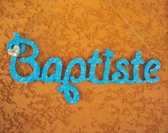 Child's name personalized baptism fretwork