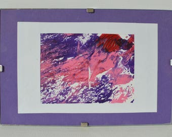 Frame paint monoprint shades of purple