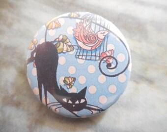 badge / paper 32 mm round cat brooch