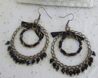 "Earrings black rings ""Just"" satin ribbon and glass beads"