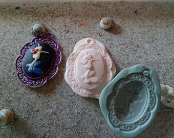 silicone mold Elf on cabochon for wepam fimo cameo