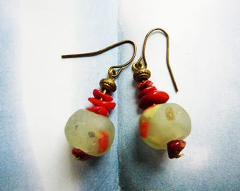 Rustic Bohemian earrings boho bead African glass and Red coral chips