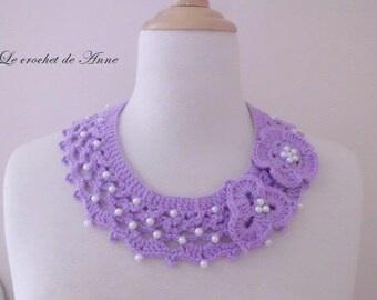 Parma violet, decorated with flowers and beads necklace!