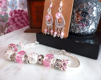 All Pandora style bracelet and matching earrings