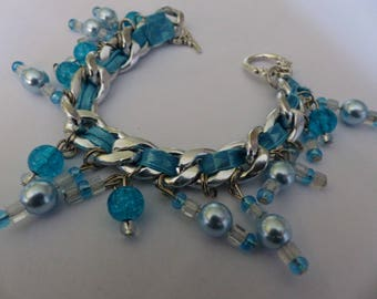 antique silver charm bracelet, blue and white