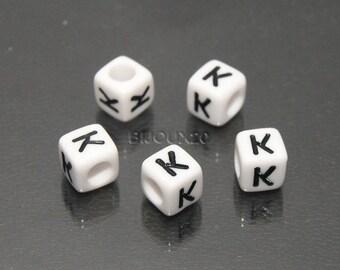 30 beads white cube letter K K M03116 6mm black acrylic