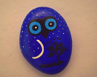 Painted Midnight Owl Rock Paper Weight
