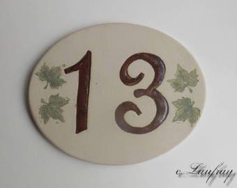 Door number, original oval shape, number 13 deco Ivy leaves