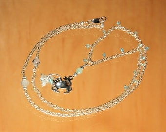 Seaside Crab With Ring of Mother of Pearl & Apatite Beads Charm Necklace