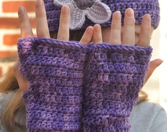 set fingerless gloves and purple hat for girl D Merino: 56cm
