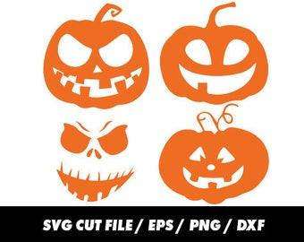 Pumpkin svg files, Halloween svg, Halloween Cricut, Scary svg, Pumpkin silhouette svg eps png dxf Cut Print Mug Shirt Decal