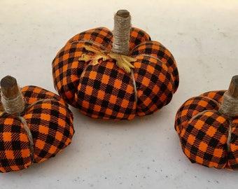 Mini Orange Checkered Pumpkins