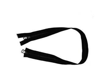 Separable zipper synthetic black 58 cm long