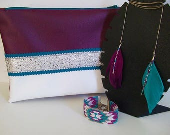 Clutch faux multicolored leather and silver glitter