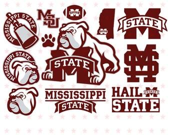 Mississippi State Bulldogs svg, Mississippi svg, Mississippi State Bulldogs Logo, Silhouette studio bundle, Mississippi Cutting files