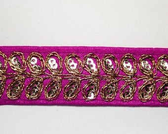 Stripe pink Fuchsia embroidered Gold 2.5 cm x 1 m