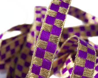 Golden Purple Woven Ribbon 1.7 cm x 1 meter