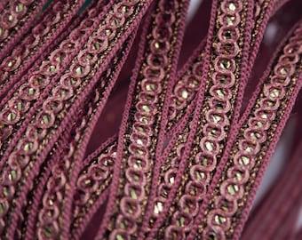 Vintage pink sequin gold Lurex pink stripe 1 cm x 1 m